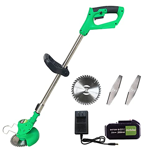 Airbike Multiple Colorways Electric Brush Cutter Grass Trimmer Brush Mower Grass Cutter Weed Wacker Cordless with Battery and Charger Blade No String Weed Wacker