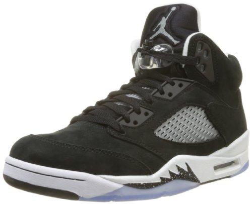 Nike Men's Air Jordan 5 Retro Satin Black/University Red 136027-006 (Size: 8)