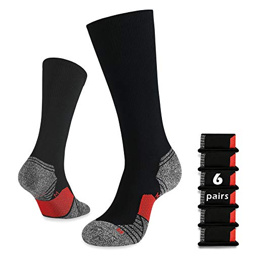 WANDER 6 Pairs Men's Athletic Run Cushion Over-the-Calf Tube Socks (6 pairs...