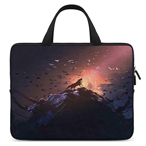 Universal Laptop Sleeve Bag,MacBook Case,Notebook Computer Handbag,10inch,for Apple/MacBook/HP/Acer/Asus/Dell/Lenovo/Samsung,Color for Fantasy World,Howling Wolf on Rock Surrounded by Bats Birds Scary