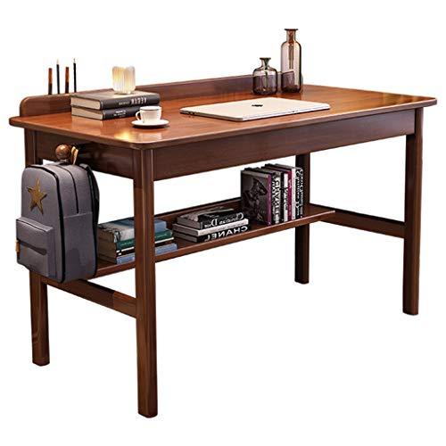 Escritorio Madera Maciza Simple Home Student Estudiante Escritorio Dormitorio Estudiar niño Escritorio Office Computer Desktop Desk Table Mesa de Juego (Color : Dark Brown, Size : 80 * 60 * 75cm)