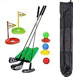 SOWOFA Golf 13 Piezas de Palos de Metal Juego de Juguetes para niños al Aire Libre para Padres e Hijos Regalo Negro Bolsa de Almacenamiento portátil simulación Golf Alfombra de Paja Verde