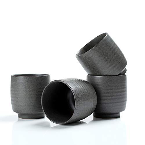 TEANAGOO Pottery Chinese Tea Cup Tea Cup, 5.8 Oz, Junware, TC03 Grey, 4 Pcs/box, Occupied Japan Tea Cups Porcelian Asian Tea Cups No Handles Japanese Tea K Cups