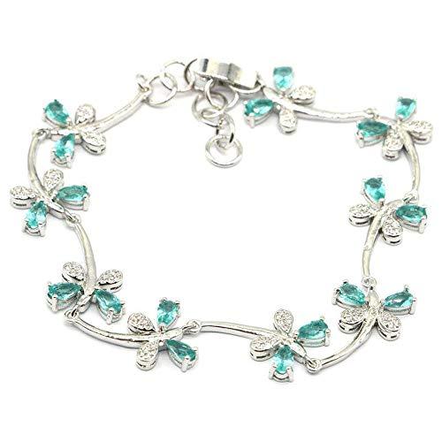 HJPAM Dragonfly Shape Aquamarijn armband temperament eenvoudige verzilverde armband damesfeest vriendschap fijne sieraden