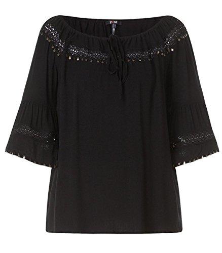 X-Two Yesta Oversize Carmen-Bluse mit 3/4 Trompetenärmel große Größen Schwarz Damen, Größe:46
