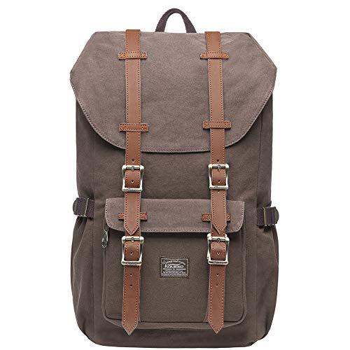 KAUKKO Vintage Rucksack Damen Herren Schön Baumwolle Daypack mit Laptopfach für 14 Zoll...