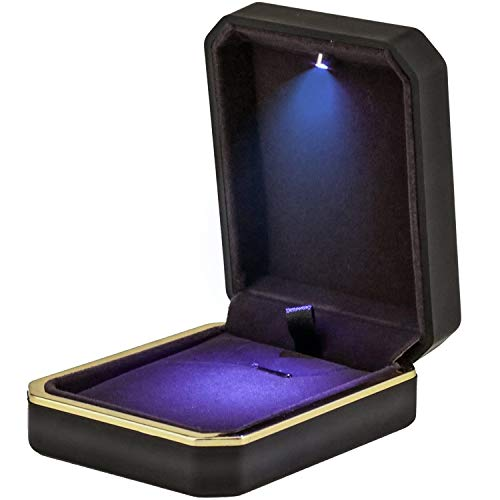 Topro Matte LED Necklace Pendant Box,Jewelry Display,Gift Box for Chains, Removable Insert,Soft Lining,Necklace Box for Wedding, Engagement, Gift (Matte Black)