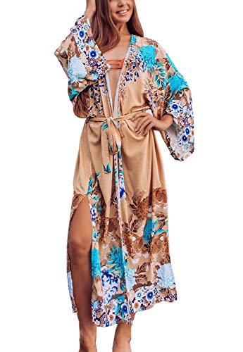Orshoy Damen Strandkleid Boho Kimono Lang Strand Cardigan Bedruckter Boho Strand Strickjacke Blumen Kimono Beachwear Bikini Cover Up Maxi Strandkleid Eine Größe