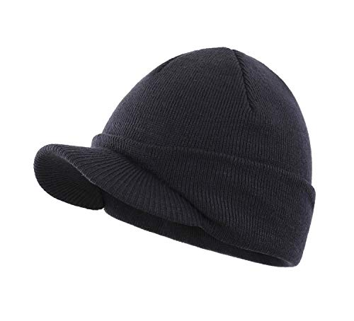 Home Prefer Winter Hat Thick Knit Beanie for Men Snow Ski Caps Warm Skull Beanie Hat Navy Blue