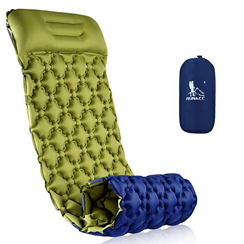 RUNACC Esterilla Camping, Colchones Camping Autohinchable, Ultraligero, Colchón Hinchable, Colchón de Aire para Camping, Viajes, Exteriores, Senderismo, Playa (Azul y Verde)