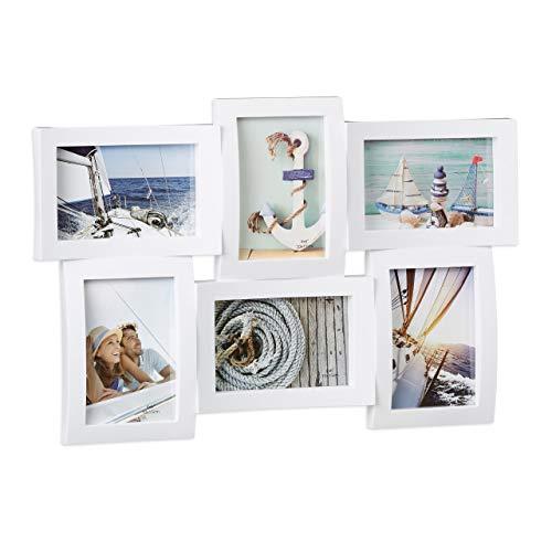 Relaxdays Cadre photos pêle-mêle 6 photos Galerie mur cadre mural 3D à suspendre 33 x 47,5 cm, blanc