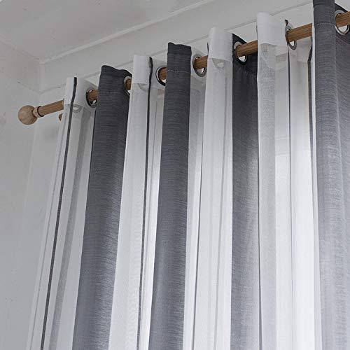 Bumpy Road Cortinas Transparentes de Gasa a Rayas para la Cocina Cortinas de la Sala de Estar Dormitorio Cortinas Modernas de Gasa de Tul a Rayas para Cortinas de Ventana