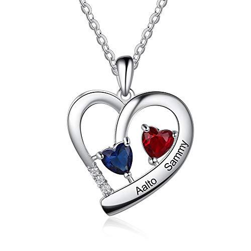 XiXi Collar personalizado con colgante de corazón de plata con 2 nombres grabados para mujer, regalo para boda, día de San Valentín, Navidad, aniversario