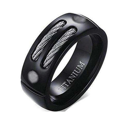Jiedeng Schmuck Unisex Ringe aus Titan Ring mit Draht Partnerringe Verlobungsringe Ehering Trauringe für Damen-Ring, Herren-Ring Schwarz Größe 57 (18.1)