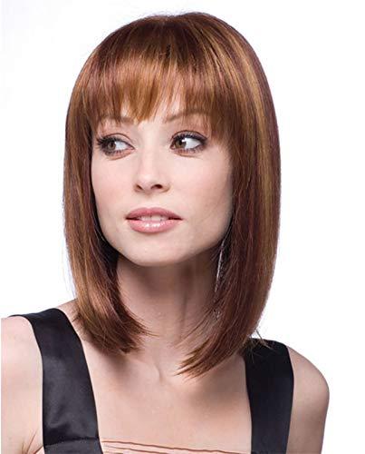 FEOYA - Peluca para mujer de pelo corto y rizado sintético con tapa de malla y peine de acero, aspecto natural y resistente al calor - marrón claro