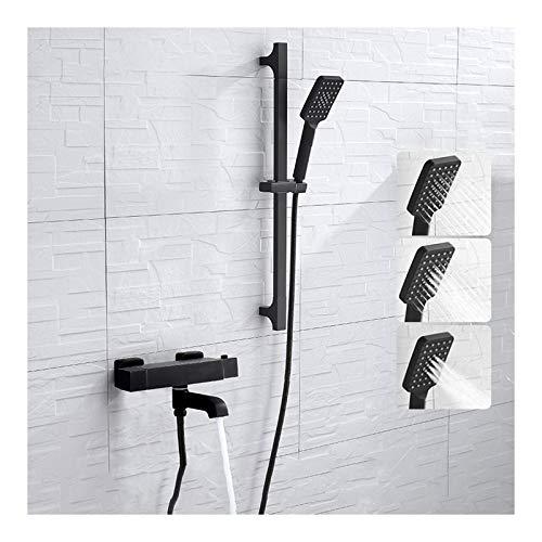 Shower Set Termostática Grifo de Bañera Montaje en Pared Giratorio Grifería de Bañera Negro Mezclador de Bañera con Alcachofa Ducha de Mano, Barra de Ducha Elevable