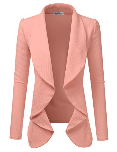 Doublju Classic Draped Open Front Blazer for Women with Plus Size Mauve Small