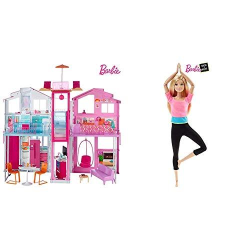 Barbie- la Casa di Malibu per Bambole con Accessori e Colori Vivaci, Giocattolo per Bambini 3+ Anni, 18 x 41 x 74.5 cm & Bambola Snodata, 22 Punti Snodabili per Tanti Movimenti, Top Rosa/Azzuro