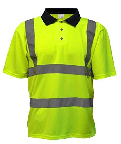 Fast Fashion - Haut Polo À Manches Longues Plein T-Shirt Col Hi Viz Vêtements De Travail Réfléchissants Safety - Hommes