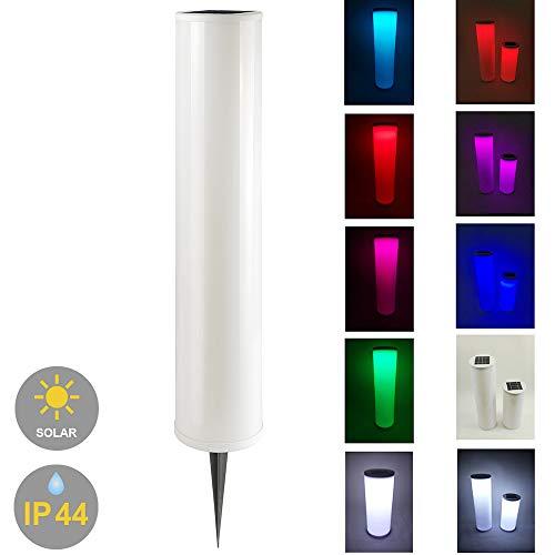 LED-Solarsäule-Lichtsäule Solarleuchte Solar-Gartenleuchte mit Erdspieß Solar-Steh-Boden-Dekoration-Party-Teich-Leuchte umschaltbar zwischen LED kaltweiß + farbwechselnd (Höhe 100cm)