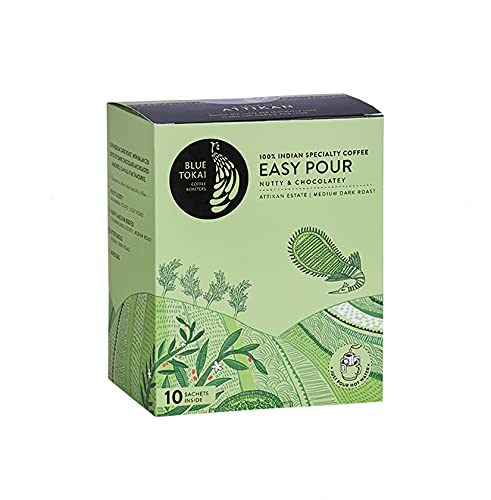 Blue Tokai Easy Pour Coffee Brew Bags | Attikan Estate | Medium-Dark Roast | Pack of 10 | 100% Arabica Specialty Coffee