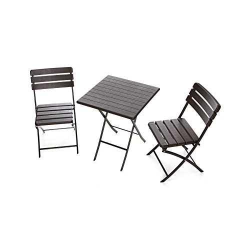 Gruppo Maruccia Juego Bar con Mesa y sillas Efecto Madera Dos Plazas