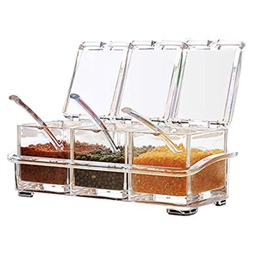 Casinlog Tarro transparente para especias con estante para especias – 3 piezas – Recipiente para especias – Recipiente para especias – Recipiente para especias con tapa y