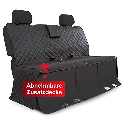WhizProducts® Hundedecke für Auto Rückbank (mit Zusatz-Decke, Tasche & Sicherheitsgurt) – Wasserabweisende Autoschondecke & Rutschfester Sitzbezug mit Seitenschutz - ideal auch als Kofferraummatte