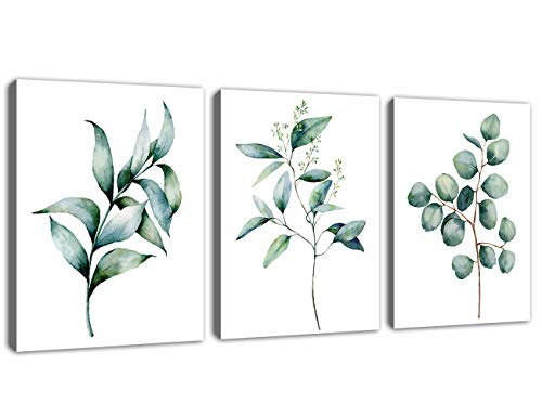 Green Leaf Wall Art Canvas Pictures Bathroom Wall Decor Modern Botanical Watercolor Painting Eucalyptus Leaves Bedroom Decoration Contemporary Bohemian Artwork Framed Ready to Hang 12' x 16' 3 Pieces
