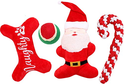 JPB 4 Pack Christmas Dog Toys for Small Dogs,Xmas Dog Gifts