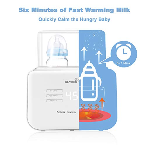 Baby Bottle Warmer, Bottle Sterilizer 6-in-1Fast Baby Food Heater&Defrost BPA-Free Warmer with LCD Display Accurate Temperature Control for Breastmilk or Formula