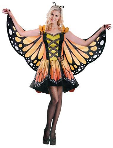 Brandsseller Damen Kostüm Verkleidung für Karneval Fasching Halloween Parties L Schmetterling/Gelb