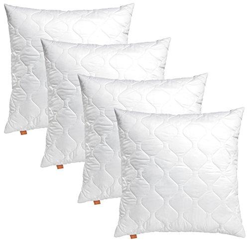 sleepling 4er Set 191174 Basic 100 Kopfkissen Mikrofaser Sofakissen 50 x 50 cm, weiß