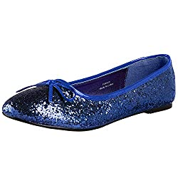 Blue Glitter Star-16G Flat Shoes