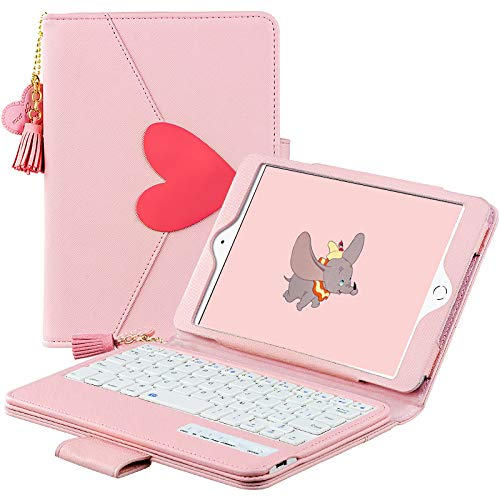 HaoHZ Keyboard Case for Ipad 10.2 8th/7th Generation 2020/2019, Cute Pink PU Leather Stand Portfolio Cover with Detachable Bluetooth Keyboard And Adjustable Viewing Angles