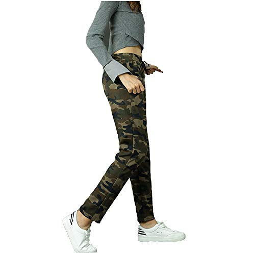 Shocknshop Green Camouflage Print Army Style Joggers Lower Sports Gym...