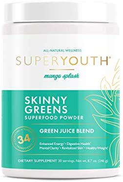Super Youth Skinny Greens Green Juice Superfood Powder Mango Splash Flavor Probiotic to Increase product image