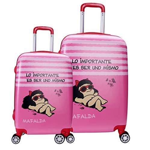 Set Dos Maletas Mafalda Color Rosa Colección Kids