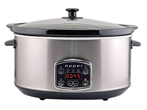 Beper BC.510 Slow Cooker, 280 W, 4,5 L, céramique verre, noir et acier