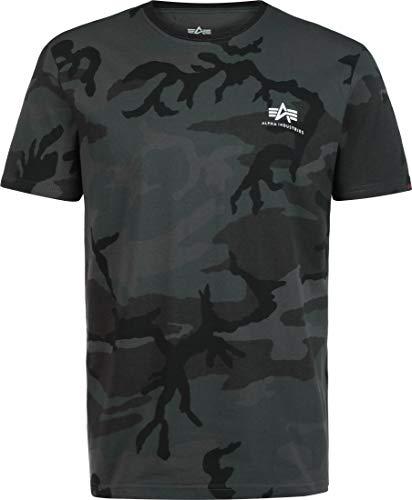 ALPHA INDUSTRIES Herren Basic T Small Logo T-Shirt, Black Camo, L