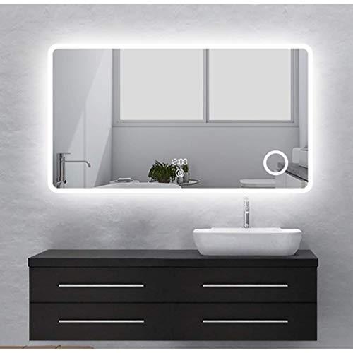 HMQ Badspiegel Snow Yang Intelligenter rahmenloser, dimmbarer Kosmetikspiegel zur Wandmontage mit One-Touch-Taste, Antibeschlag, Lupe, Zeit-Temperaturanzeige (24 x 32 Zoll)