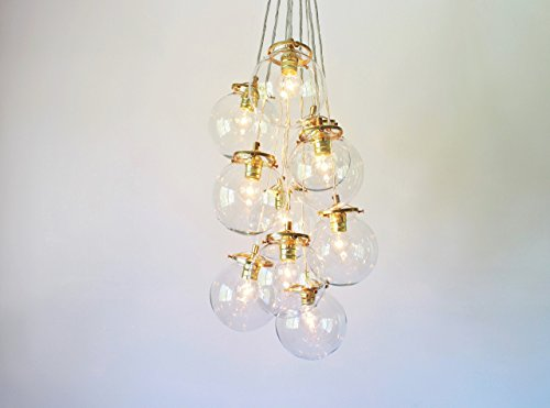 Bubble Chandelier Lighting Fixture, 10 Hanging Clear Glass Globe Clustered Pendants, Modern Lighting & Home Decor