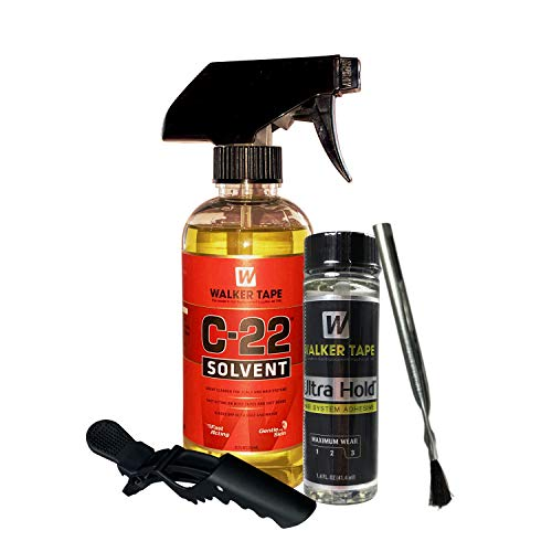 C22 Citrus Solvent Wig Glue Remover 12oz with 1.4oz Ultra Hold Hair System Adhesive with Extra Brush Applicator and Hair Sectioning Clip Saver Pack | Long Lasting Hold Fast Action Adhesive