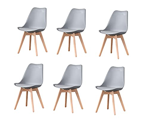 MeillAcc Silla de comedor clásica moderna, juego de 6 piezas de lino patchwork, sala de estar, dormitorio y estudio (gris 3, 6)