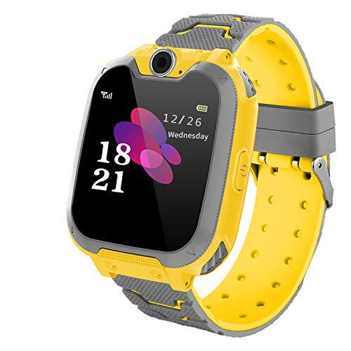 Zeerkeer Enfants Smartwatch Jeu Montre Connectée avec SOS Appelez et 7 Jeux Musique Enfant Montre Téléphone avec Appareil Photo numérique réveil pour 3-12 garçons et Filles(Jaune)