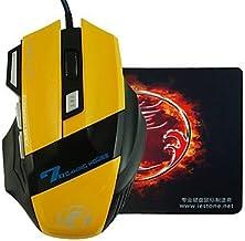 E-STONE X7diseño luz LED Wired Gaming 2000dpi Ratón USB + ratón, color negro