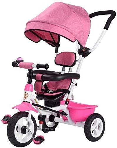 Poppenwagen kinderen trikes baby-driewieler kinderwagen met duwstang, naar achteren gerichte zitting, voor jonge jongens/meisjes - pazi-accessoire Trike Cabrio met baldakijn duwstang grow-met kop Ba