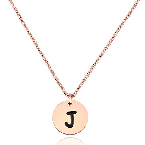 Zuo Bao Simple Rose Gold Script Initial Disc Necklace Alphabet Pendant Necklace Bridesmaid Jewelry Gift for Her (J)