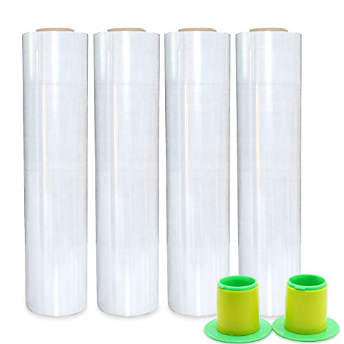 """4 Pack Industrial Clear Stretch Wrap Film with Plastic Handle 18"""" 1200ft 72Gauge for Pallet Wrap.Durable Self-Adhering Packing,Moving,Packaging,Heavy Duty Shrink Film -BOMEI PACK"""