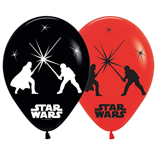 amscan 9903707 5 Latexballons LED Star Wars, Rot, Weiß
